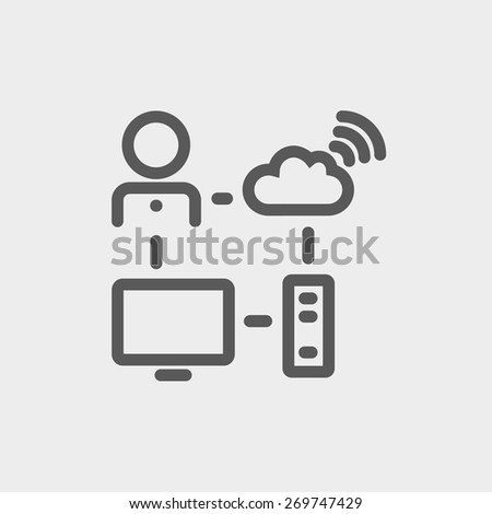 Male office worker with computer set and wifi icon thin line for web and mobile, modern minimalistic flat design. Vector dark grey icon on light grey background. - stock vector