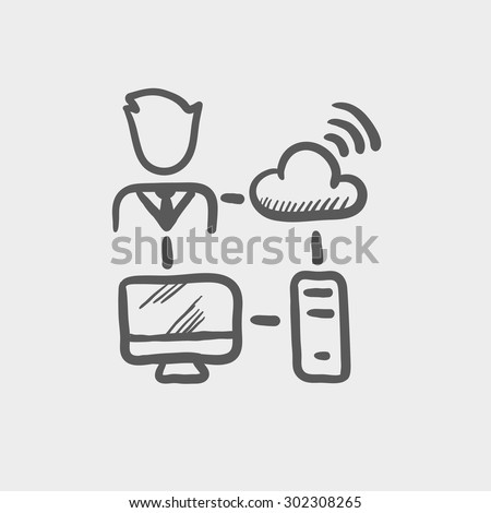 Male office worker with computer set and wifi sketch icon for web and mobile. Hand drawn vector dark grey icon on light grey background. - stock vector