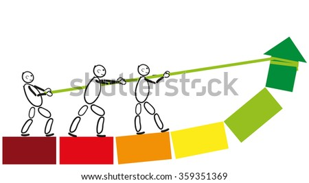 Male pack join forces to achieve a common goal. They draw their common objective in the green field. Abstract drawing of stick figures with arrow. - stock vector