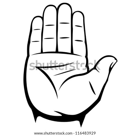 male palm hand gesture - stock vector