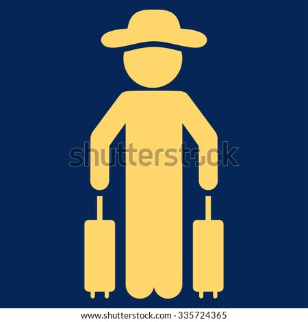 Male Passenger vector icon. Style is flat symbol, yellow color, rounded angles, blue background. - stock vector