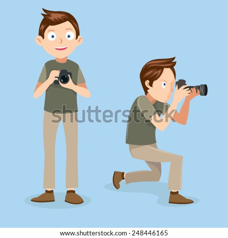 Male Photographer Vector  - stock vector