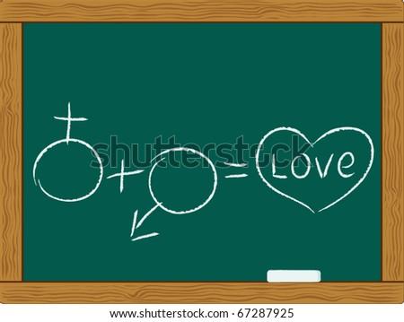male plus female sex symbols is love