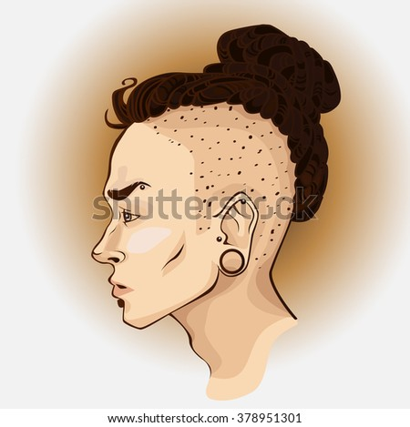 Male profile. Hipster. Boy. Hairstyle. Fashion style. Vector. - stock vector