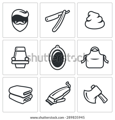 Male salon haircut beard, mustache and hairstyle icons set. Vector Illustration. Isolated Flat Icons collection on a white background for design - stock vector