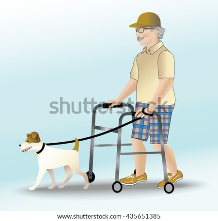 Male senior citizen with walker taking his dog for a walk