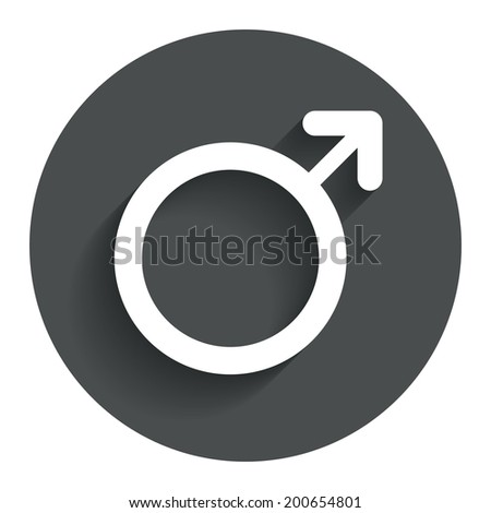 Male sign icon. Male sex button. Circle flat button with shadow. Modern UI website navigation. Vector - stock vector