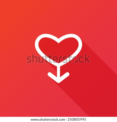 Male sign icon. Male sex heart button. Vector illustration flat design with long shadow - stock vector