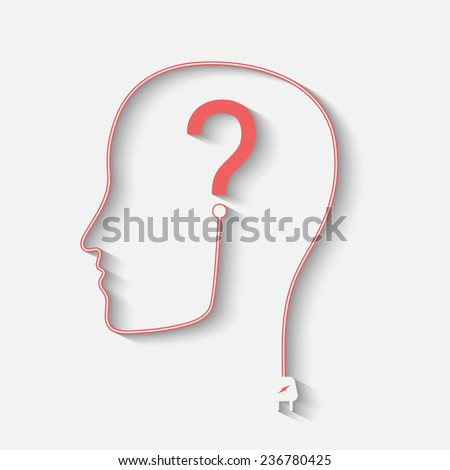 Male silhouette with question mark on the head - vector icon - stock vector