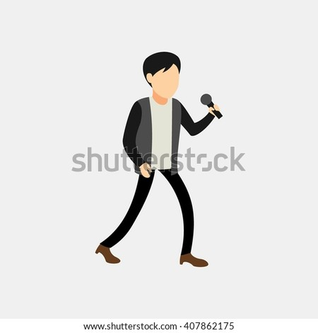 Male singer character sing a beautiful song with microphone on his hand - stock vector