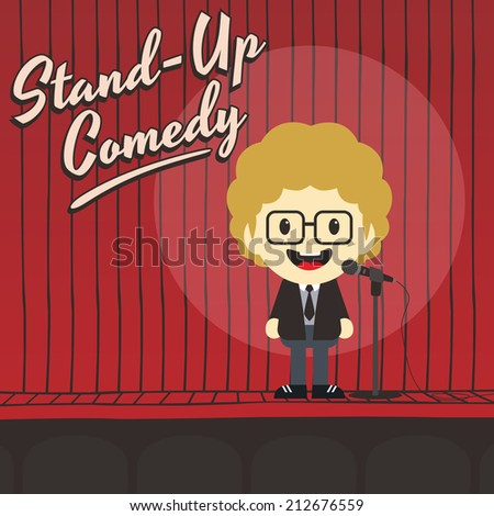 male stand up comedian - stock vector