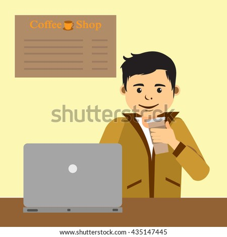 Male student work on computer while holding a cup of coffee, young business man use laptop sitting at wooden table of modern coffee shop, freelancer blogger working on  inside a coffee shop - stock vector