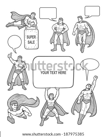 Male superhero sketches with speech bubbles comic style. You can use any design you want. Easy to use, edit, or change color. - stock vector