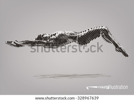 Male swimmer on the competition. Vector artwork in the style of ink drawing - stock vector