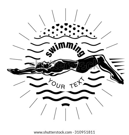 Male swimmer on the competition. Vector illustration in the engraving style - stock vector