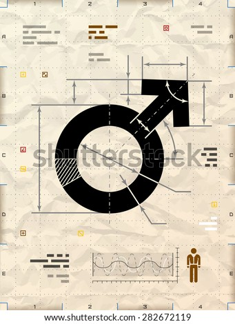 Male symbol as technical blueprint drawing. Drafting of man sign on crumpled Kraft paper. Vector image about man biology and health, male psychology (father, son), sex differences, gender role, etc - stock vector