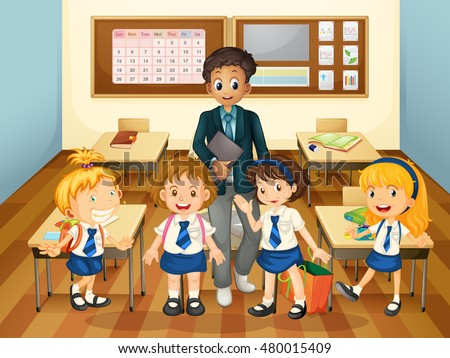Male teacher and students in class illustration