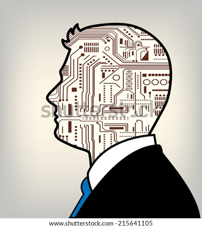 Male technology profile man robot in suit  - stock vector