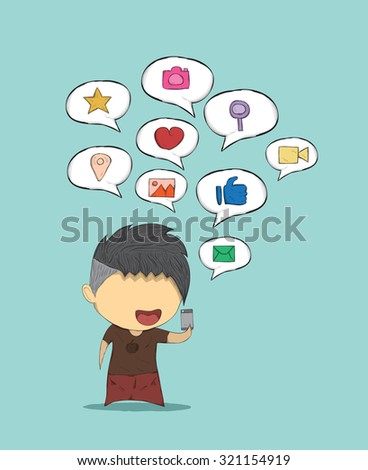 Male teens playing with phone icon social, drawing by hand vector
