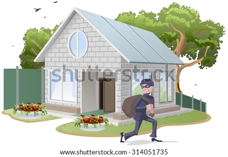 Male thief robbed house. Burglaries. Property insurance. Illustration in vector format - stock vector