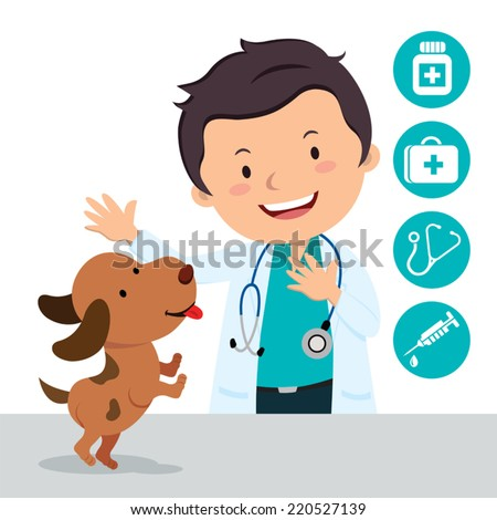 Male veterinarian. Vector illustration of a veterinarian with a cute puppy and medical icons. - stock vector
