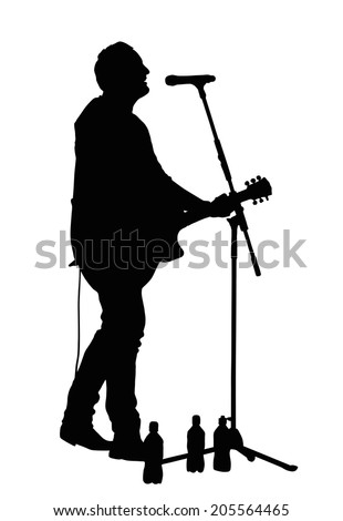 Male Vocalist Singing into Microphone with Guitar Silhouette - stock vector