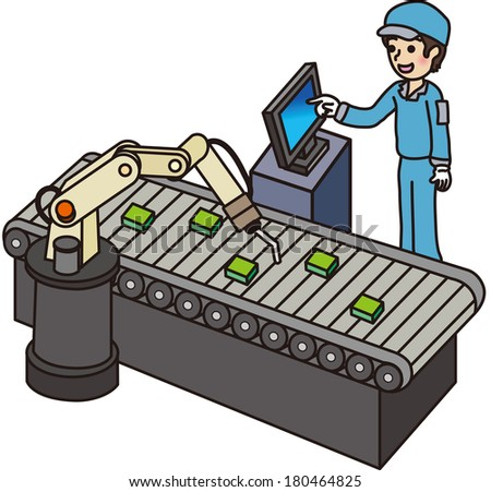 Male worker in the factory - stock vector