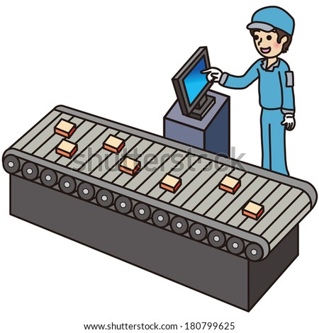 Male workers working in the factory - stock vector