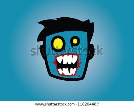 Male Zombie Head. - stock vector