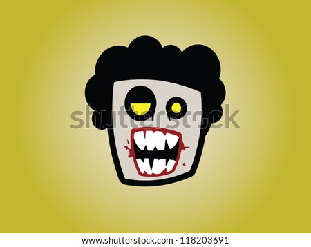 Male Zombie Head with Afro. - stock vector