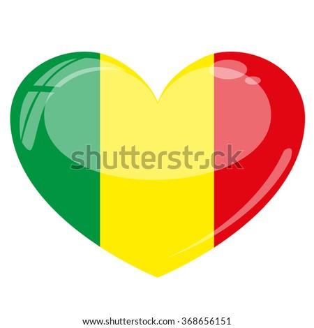 Mali Flag Heart Vector Silhouette - stock vector