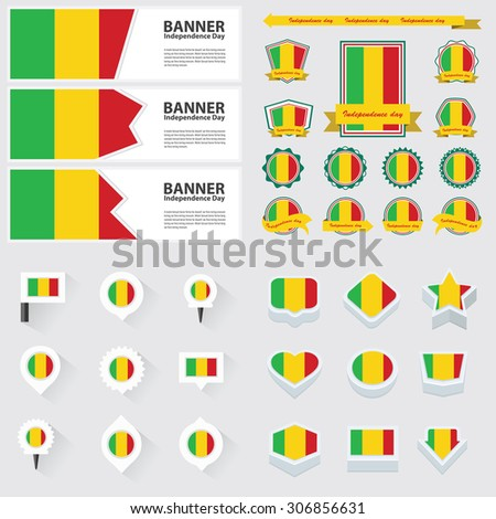mali independence day, infographic, and label Set.