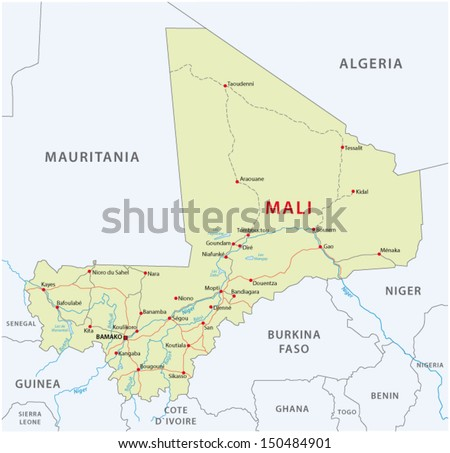 mali map - stock vector