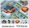 Mall and Grocery center. Set of very detailed isometric vector - stock vector