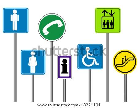 Mall / Indoor Signs - Vector - stock vector