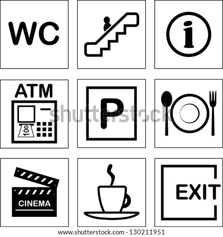 Mall, supermarket , road services signs. WC, elevator, information, atm, parking, food court, restaurant, cinema, cafe, exit, help desk - stock vector