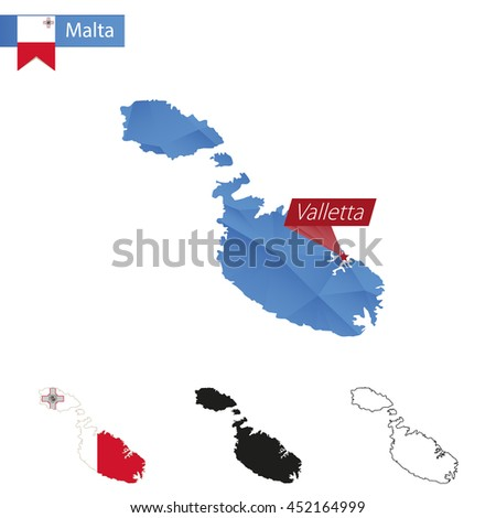 Malta blue Low Poly map with capital Valletta, versions with flag, black and outline. Vector Illustration. - stock vector