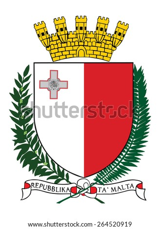 Malta coat of arms, seal, national emblem, isolated on white background. Vector Coat of arms of Malta, Original and simple Malta coat of arms in official colors and Proportion Correctly.   - stock vector