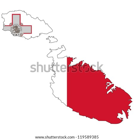 Malta vector map with the flag inside. - stock vector