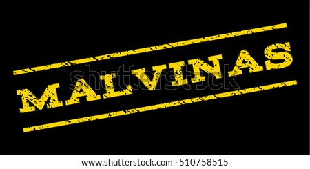 Malvinas watermark stamp. Text caption between parallel lines with grunge design style. Rubber seal stamp with unclean texture. Vector yellow color ink imprint on a blue background.