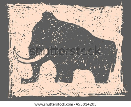 mammoth an ancient graphic  - stock vector