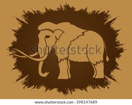 Mammoth designed on grunge frame background graphic vector. - stock vector