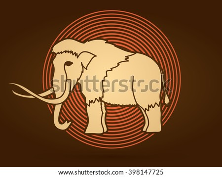 Mammoth designed on line cycle background graphic vector. - stock vector
