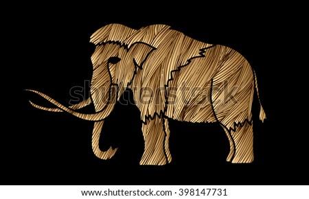 Mammoth designed using gold grunge brush graphic vector. - stock vector