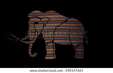 Mammoth designed using line colorful rainbows graphic vector. - stock vector