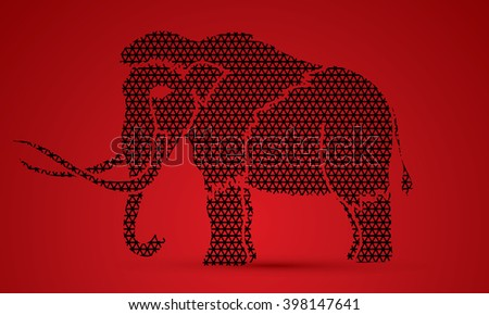 Mammoth designed using line geometric pattern graphic vector. - stock vector