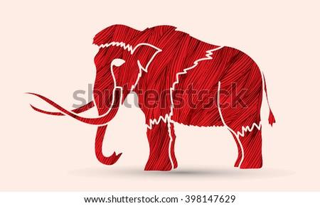 Mammoth designed using red grunge brush graphic vector. - stock vector