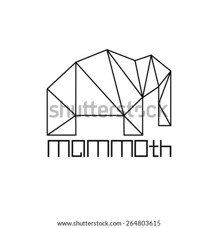 mammoth in polygon line craft style - stock vector
