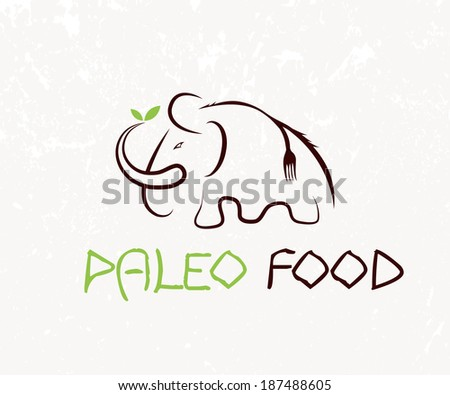 mammoth with fork and leaves - stock vector