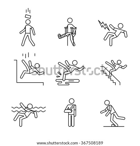 Man accident and traumas safety sign set. Thin line art icons. Linear style illustrations isolated on white. - stock vector